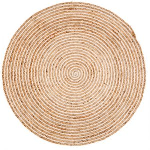 Round Floor Rug, Pulmeria, white and natural rug