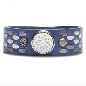 Noosa Amsterdam Protection bracelet staples Jean leather bracelet with chunk