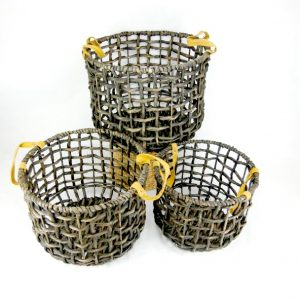 open weave washed charcoal baskets, fisherman basket, leather