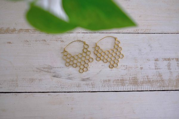 Brass Statement earrings geometric honeycomb